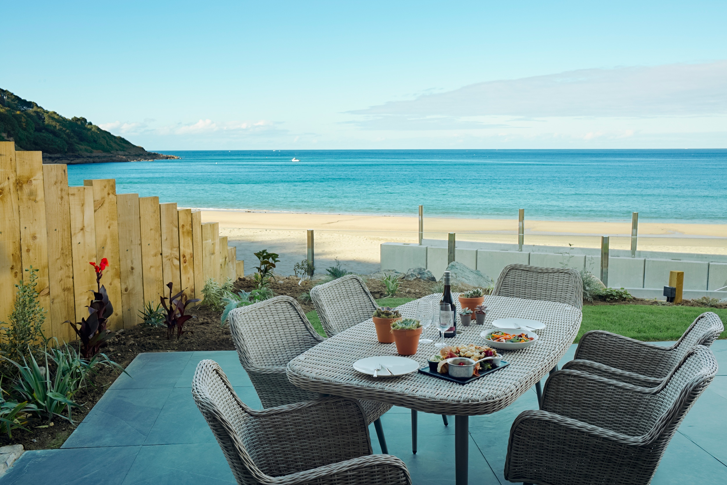 Patio furniture outside Carbis Bay Lodge.