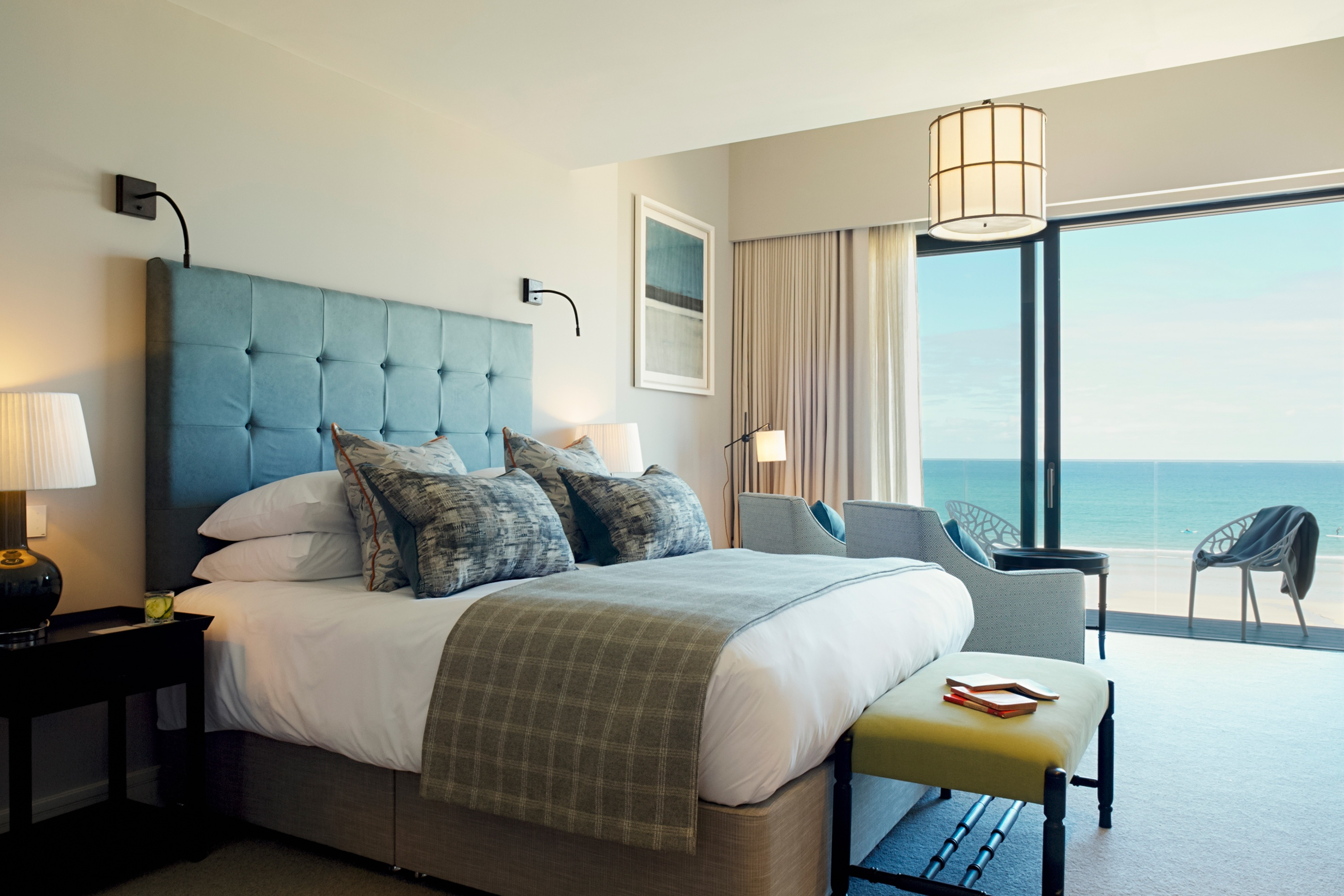 Double bed with glass doors to Carbis Bay beach.