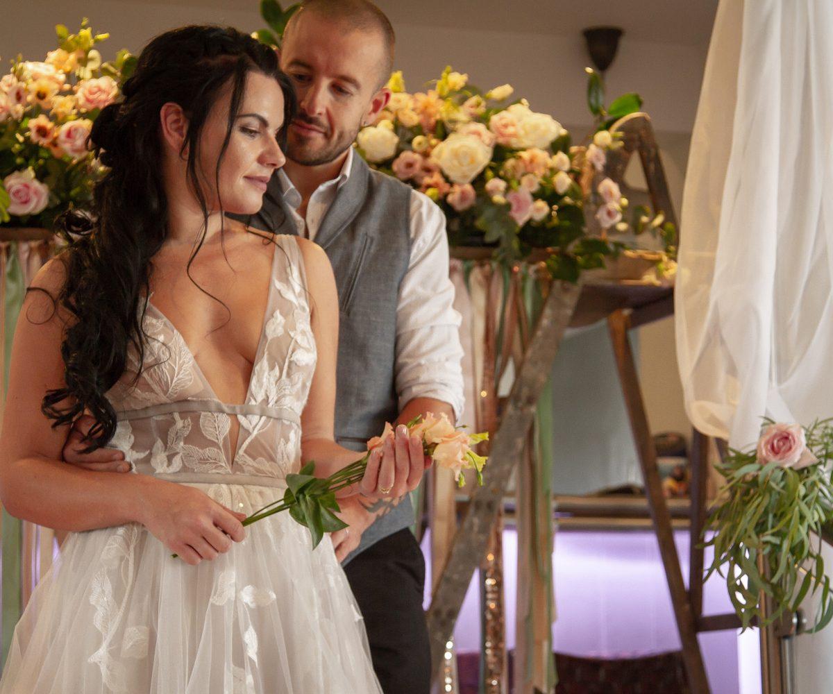Bride and groom at the Gannet Inn